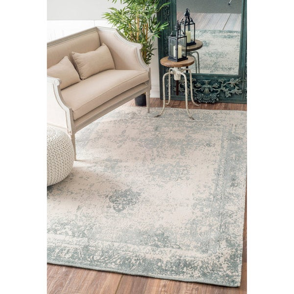 Nuloom Remade Distressed Overdyed Turquoise Area Rug: NuLOOM Handmade Distressed Abstract Vintage Wool Grey Rug