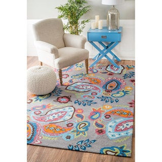 Hand Hooked Charlotte Blue Green Rug 5 X 7 6 13794486