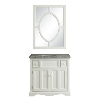 Crawford & Burke Morton Vanity Base with Stone Top, Sink and Mirror