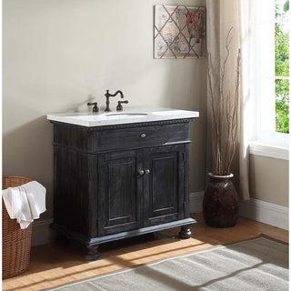 Crawford & Burke Lincoln Vanity Base with Stone Top and Sink