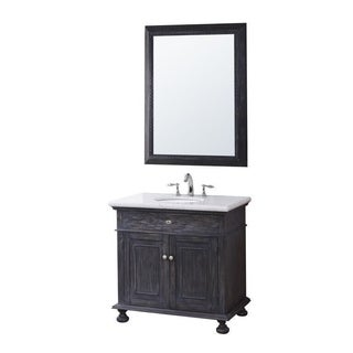 Crawford & Burke Lincoln Vanity Base with Stone Top, Sink and Mirror