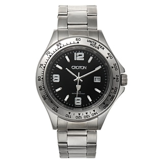 Croton Men's CA301253SSBK Stainless Steel Silvertone Tachymeter Bezel Watch