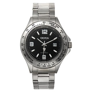 Croton Men's Stainless Steel Silvertone Tachymeter Bezel Watch
