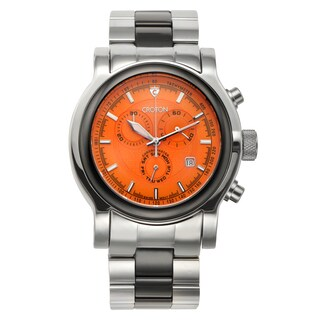 Croton Men's CC311125BKOR Stainless Steel & Ceramic Silvertone Chronograph Watch