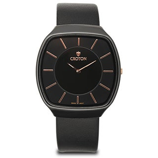 Croton Unisex CN307427BSBK Ceramic Black Leather Strap Watch