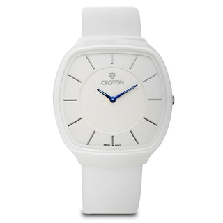 Croton Unisex CN307427WSWH Ceramix White White Leather Strap Watch