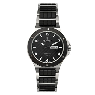 Croton Men's CN307500SSBK Ceramic & Stainless Steel Black Day & Date Watch