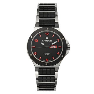 Croton Men's CN307500SSRD Ceramic & Stainless Steel Black Day & Date Watch