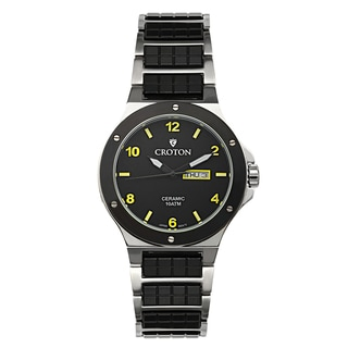 Croton Men's CN307500SSYL Ceramic & Stainless Steel Black Day & Date Watch