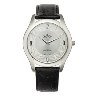 Croton Men's CN307501BSSL Stainless Steel Silvertone Leather Strap Watch