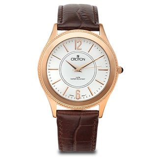 Croton Men's CN307502BRDW Stainless Steel Rosetone Leather Strap Watch