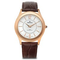 Croton Men's  Stainless Steel Rosetone Leather Strap Watch