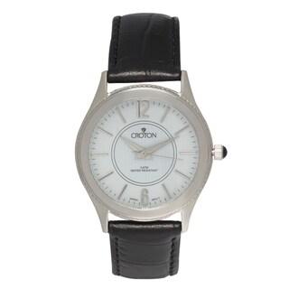 Croton Men's CN307502BSDW Stainless Steel Silvertone Leather Strap Watch