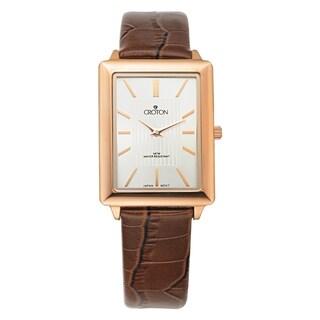 Croton Men's CN307503RGSL Stainless Steel Rosetone Leather Strap Watch