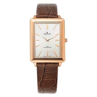 Croton Men's CN307503RGSL Stainless Steel Rosetone Leather Strap Watch (Option: Brown)|https://ak1.ostkcdn.com/images/products/10620416/P17690685.jpg?impolicy=medium