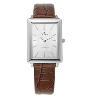 Croton Men's CN307503SSSL Stainless Steel Silvertone Leather Strap Watch