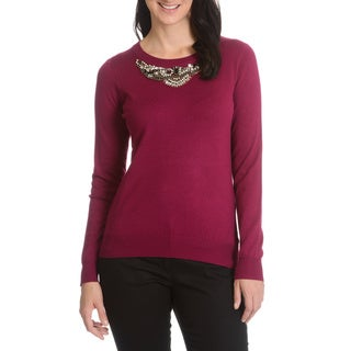 Cyrus Women's Beaded Neckline Detail Sweater