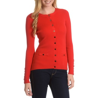 Cyrus Women's Stretch Ribbed Button Front Cardigan