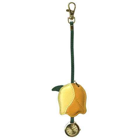 Dakota Moxie Leather Yellow Tulip Hanging Purse Charm Clock