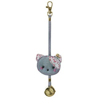 Dakota Moxie Flower Fabric Cat Hanging Purse Charm Clock