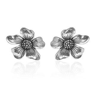 Handmade Happy Flower Bloom .925 Sterling Silver Stud Earrings (Thailand)