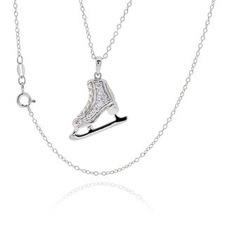 Sterling Silver Cubic Zirconia Skating Shoe 18-inch Necklace