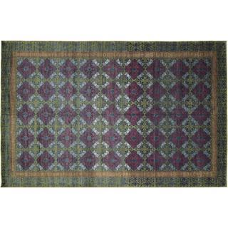 Peshawar Laleh Blue Hand-knotted Rug (12' x 19')