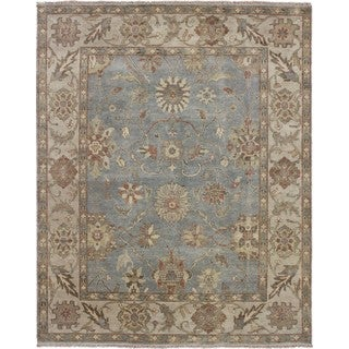 Indo Mahal Anis Blue Hand-knotted Rug, (8'1 x 10')