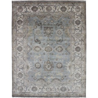 Oushak Mehri Green Hand-knotted Rug, (9'0 x 11'8)