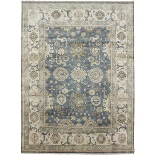 Hand-knotted Oushak Akmal Blue Rug (8'8 x 12'0)