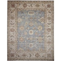 Indo Mahal Akram Blue Hand-knotted Rug (10'3 x 13'9)