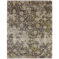 Oushak Nousha Brown Hand-knotted Rug (7'10 x 9'9)