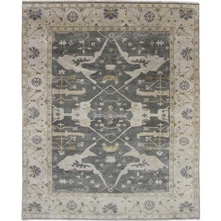 Oushak Anissa Green Hand-knotted Rug (9'2x11'9)