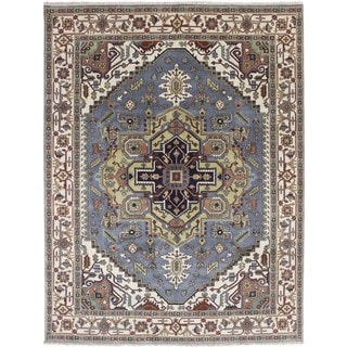 Oushak Husan Grey Hand-Knotted Rug, (9'0 x 11'10)