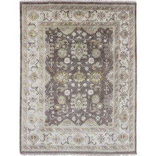 Oushak Ardashir Brown Hand-Knotted Rug (8'2 x 9'9)