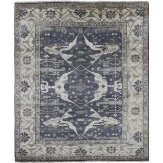 Oushak Yasemin Blue Hand-Knotted Rug (8'1 x 9'9)