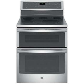 GE Black on Black Profile 30-inch Free-standing Electric Convection Range with Warming Drawer Stainless Steel