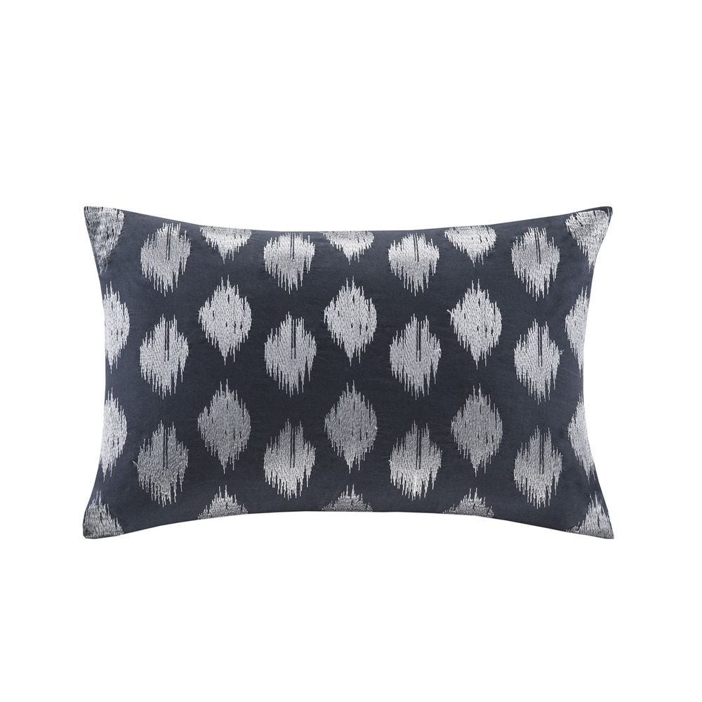 Echo Nadia Dot Embroidered Cotton Modern Throw Pillow 12X18 Casual Embroiered Fashion Oblong Decorative Pillow Navy