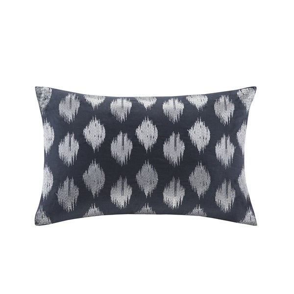 The Curated Nomad Miley Navy Dot Embroidered Cotton Oblong Pillow