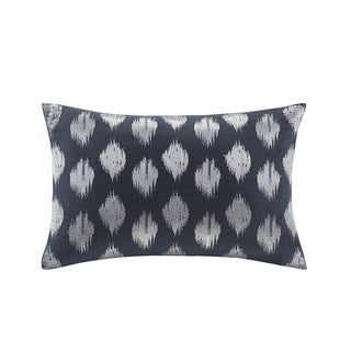 INK+IVY Nadia Dot Embroidered Navy Cotton Oblong Pillow
