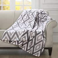 Madison Park Ikat Diamond Oversized Print Brushed Throw with 1-inch Self Hem