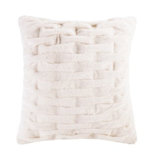 Madison Park Ruched Fur 20x20 Square Pillow (Option: Ivory)