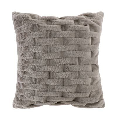 Madison Park Ruched Fur 20x20 Square Pillow 5-Color Option