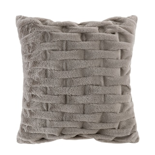 Madison Park Ruched Fur 20x20 Square Pillow 5-Color Option