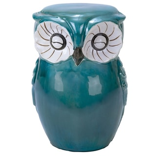 Hand-painted Owl Ceramic Stool - Aqua