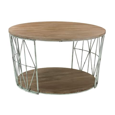 32-inch Sterling Round Wood and Metal Coffee Table