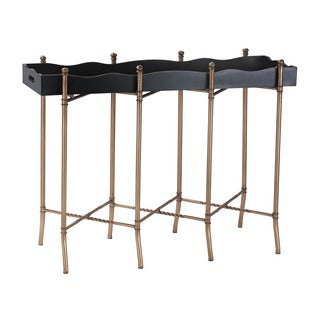 Sterling Black and Gold Tray Style Console