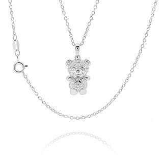 Sterling Silver Cubic Zirconia Teddy Bear 18 Inch Necklace China