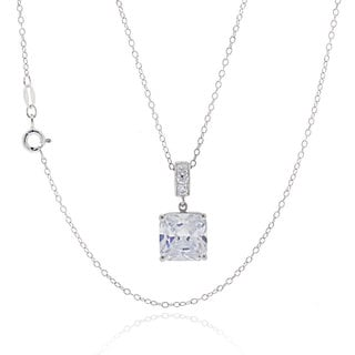 Sterling Silver Square Cubic Zirconia 18-inch Necklace
