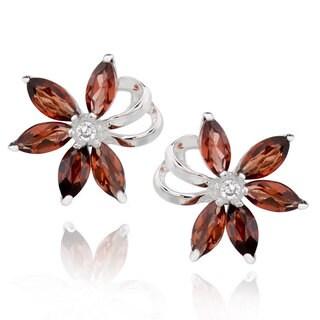 Sterling Silver Marquise Garnet Flower Stud Earrings